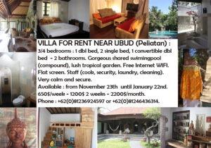 location villa à Ubud Bali Indonésie