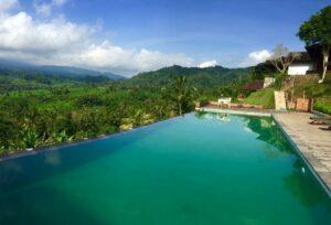 piscine avec vue magnifique sur la jungle