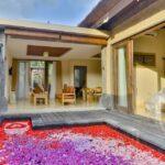 piscine décorée de pétales de fleurs