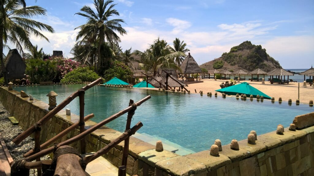 hotel, plage, Lombok